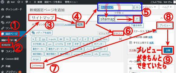 訪問者用サイトマップ作成方法