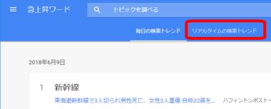 Googleトレンド(グーグルトレンド)でリアルタイムの検索トレンドを押す