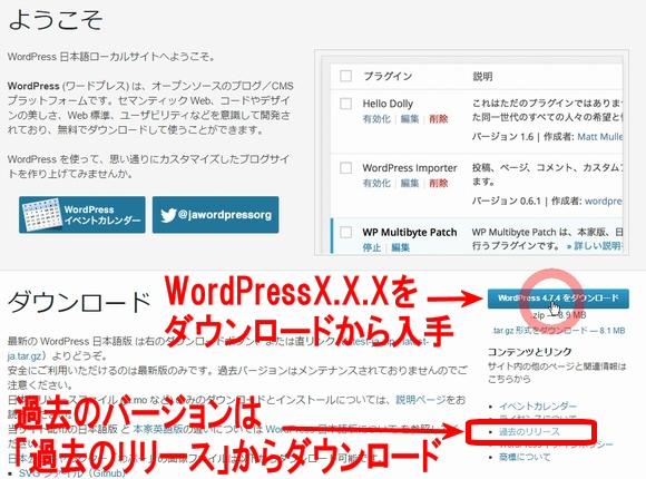 ワードプレス日本語公式サイトからWordPress本体のダウンロードや、公式配布プラグイン・テーマをダウンロード
