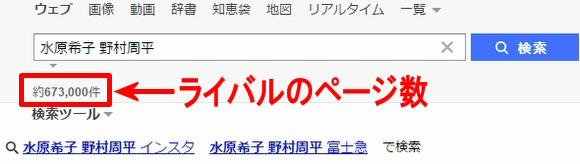 検索結果件数~検索結果でのライバルチェックのポイント1Yahooの場合は、検索フォームのすぐ下の数字