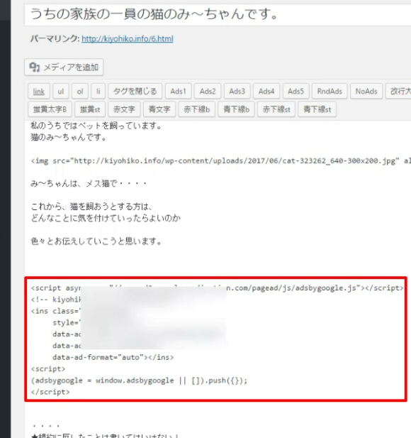 Googleアドセンス広告コード発行とWordPressブログへの貼り方6