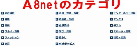 A8.netのカテゴリ例です。ありとあらゆるジャンルがあります