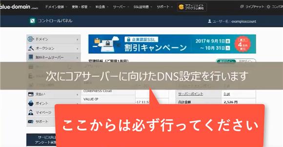 バリュードメイン~ネームサーバーとDNSの設定方法(コアサーバー)8