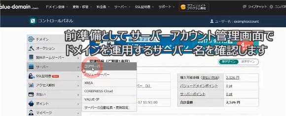 バリュードメイン~ネームサーバーとDNSの設定方法(コアサーバー)9