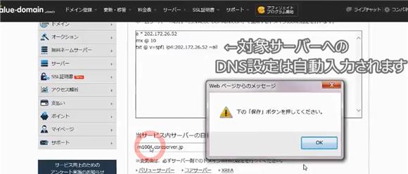 バリュードメイン~ネームサーバーとDNSの設定方法(コアサーバー)15