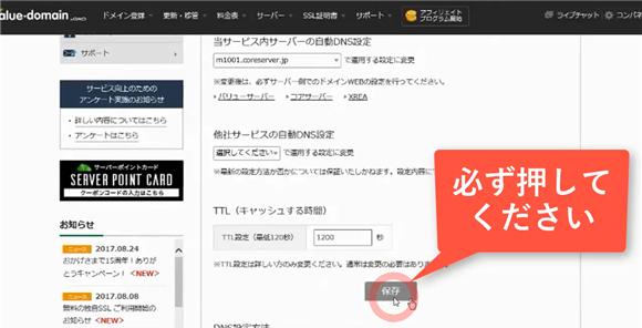 バリュードメイン~ネームサーバーとDNSの設定方法(コアサーバー)17