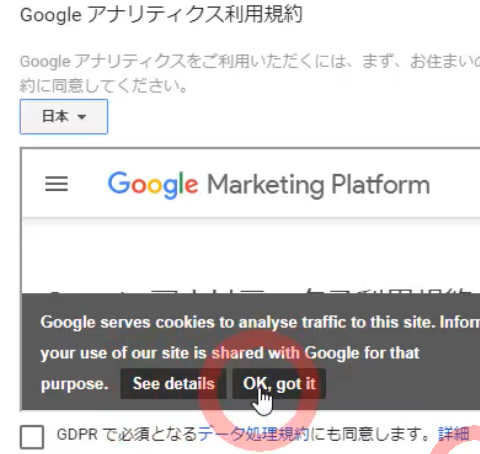 Googleアナリティクス利用規約・データ共有の追加条項に同意1