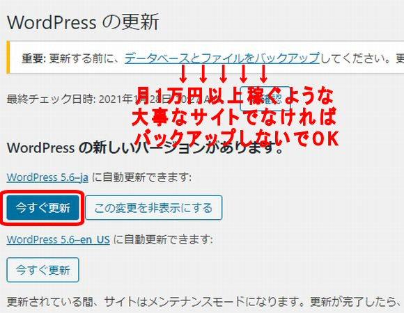 WordPressの更新画面に移動したら、青い「今すぐ更新」ボタンを押します。