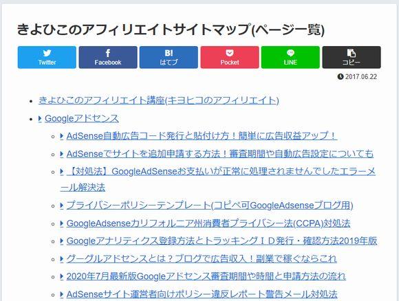 PS Auto Sitemapで作ったサイトマップページ
